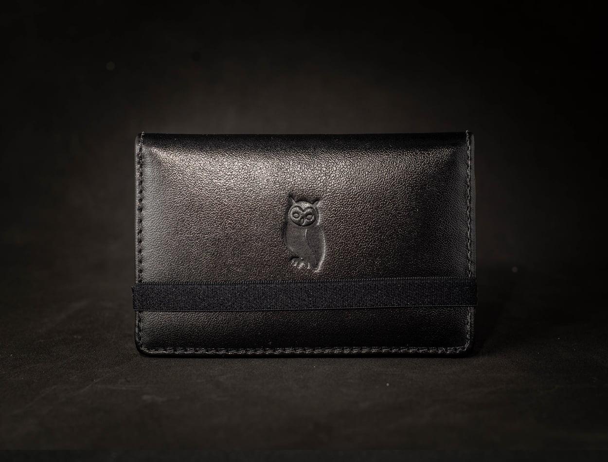 Carteira couro Masculina Milão Preta com elástico preto - Cópia (1)