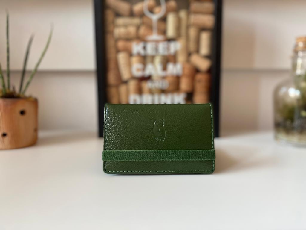 Carteira couro Masculina Milão Verde com elástico verde