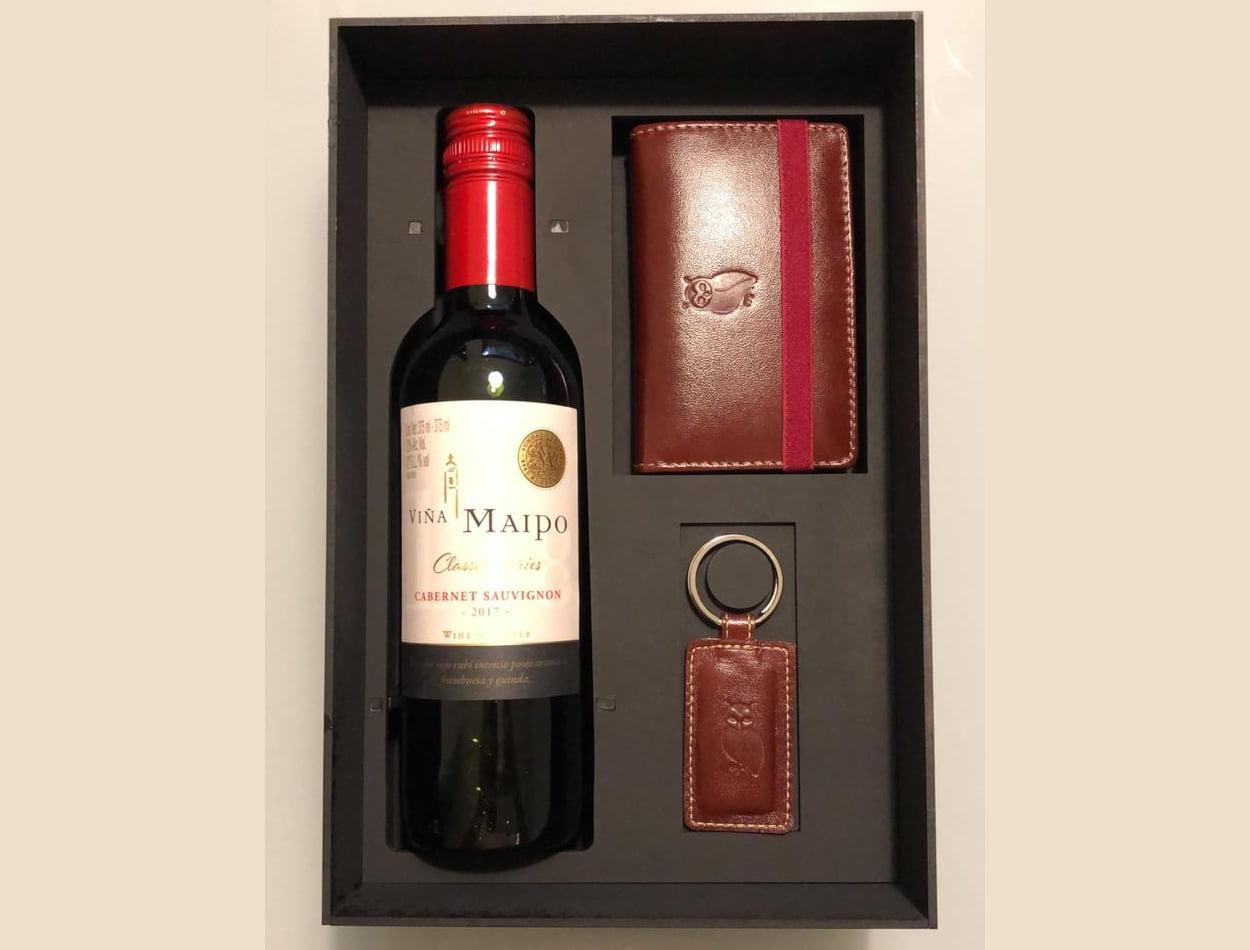 Kit Presente Vinho - Carteira couro Masculina Milão com Chaveiro