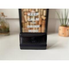 Carteira couro Masculina Milão Royal Preta com elástico preto