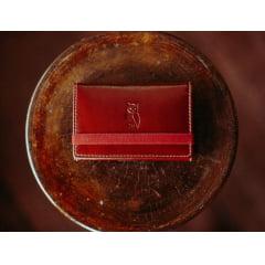 Carteira couro Masculina Milão Wiskhy com elástico vermelho